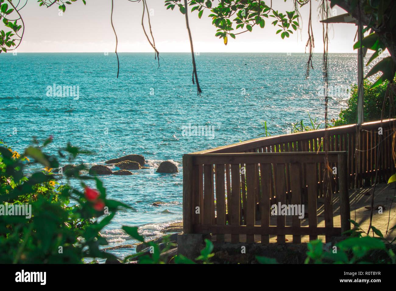 balcony over the beach and blue ocean at Florianopolis, Santa Catarina, Brazil - Stock Image