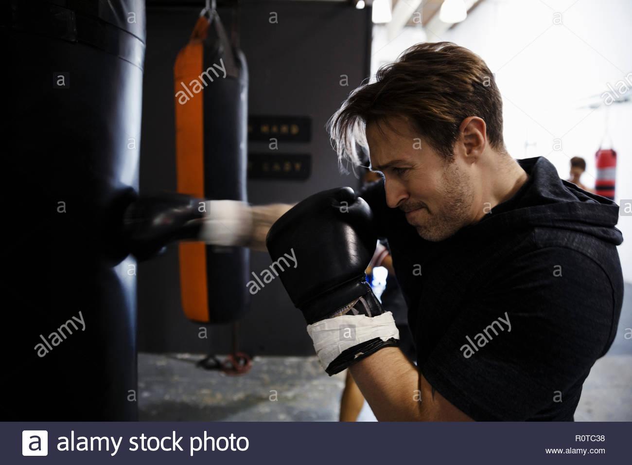 Tough male boxer training, boxing at punching bag in gym - Stock Image