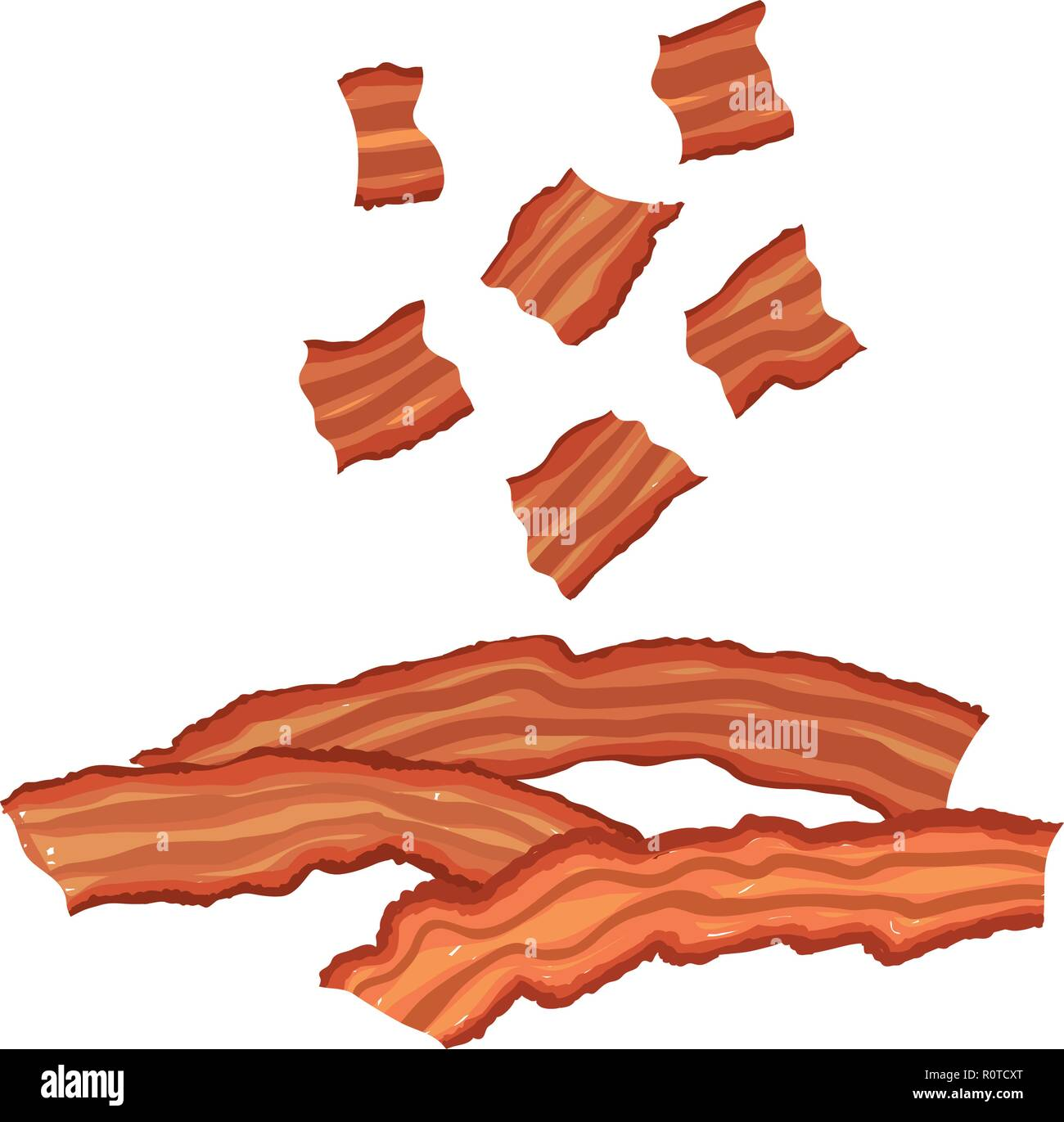 vector painterly set of bacon cooked and bits editable scalable