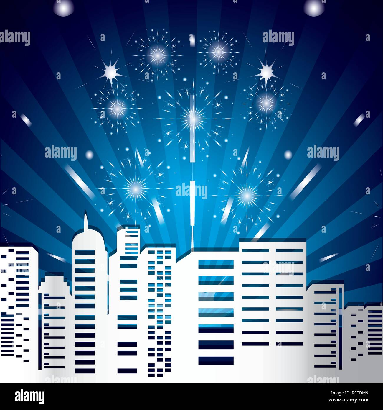 scene cityscape with fireworks vector illustration design - Stock Vector