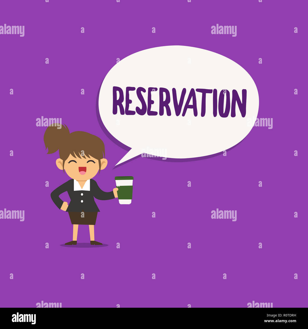 Conceptual hand writing showing Reservation. Business photo text Arrangement made so a seat somewhere is kept for someone. - Stock Image