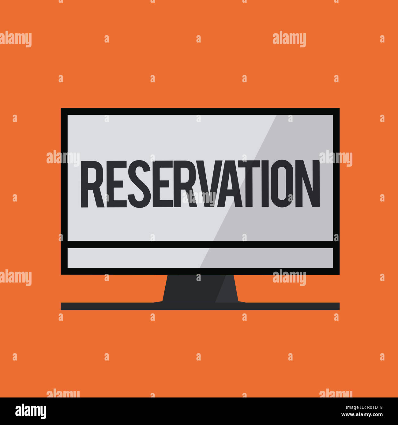Word writing text Reservation. Business concept for Arrangement made so a seat somewhere is kept for someone. - Stock Image