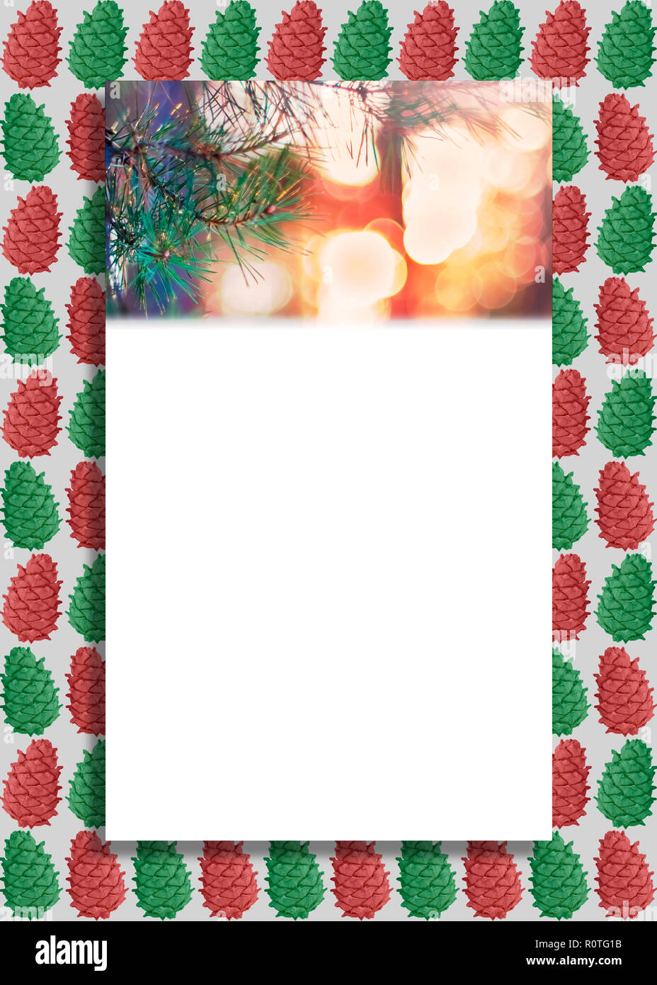 vertical greeting card illustration pine tree fir branch and lights colorful cedar cones background christmas and new year banner cover invitatio