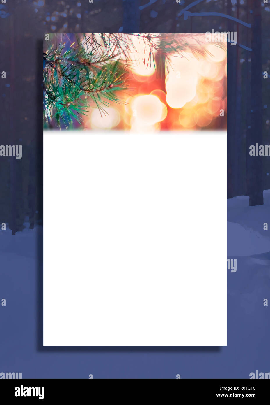 vertical greeting card illustration pine tree fir branch and lights faded blue evening winter forest background christmas and new year banner cove