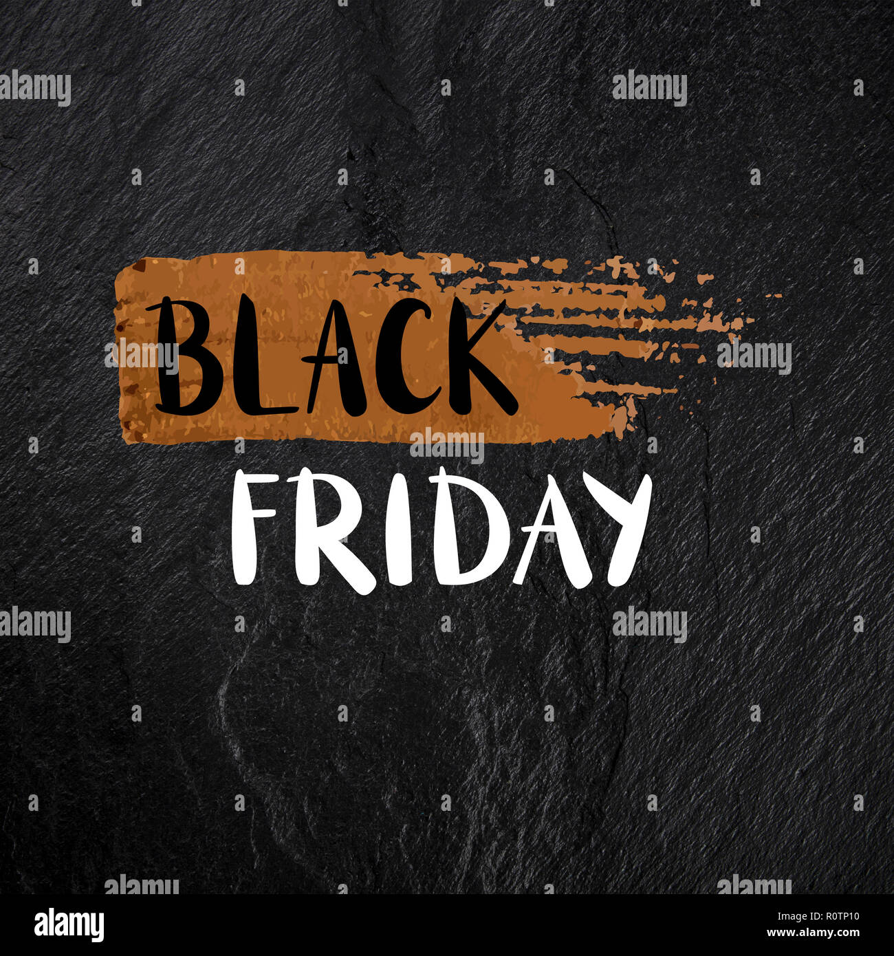 Black Friday banner with hand drawn lettering with a golden