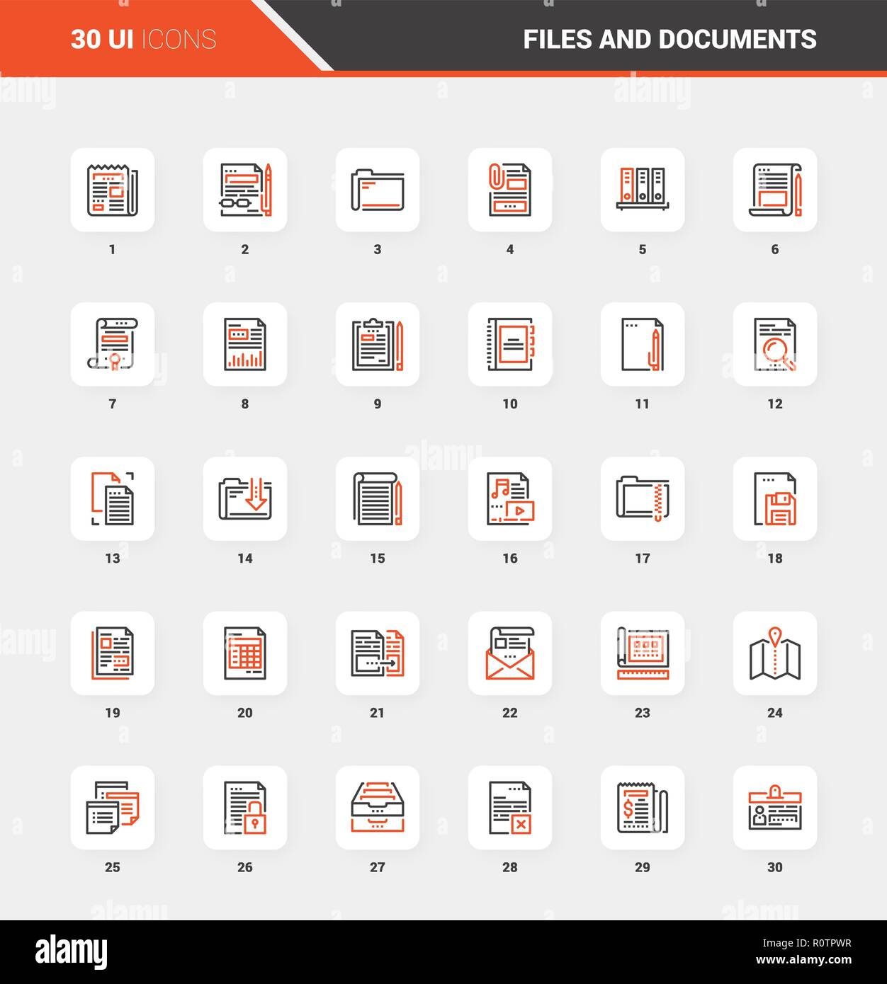 Files and Documents Flat Line Web Icon Concepts - Stock Vector