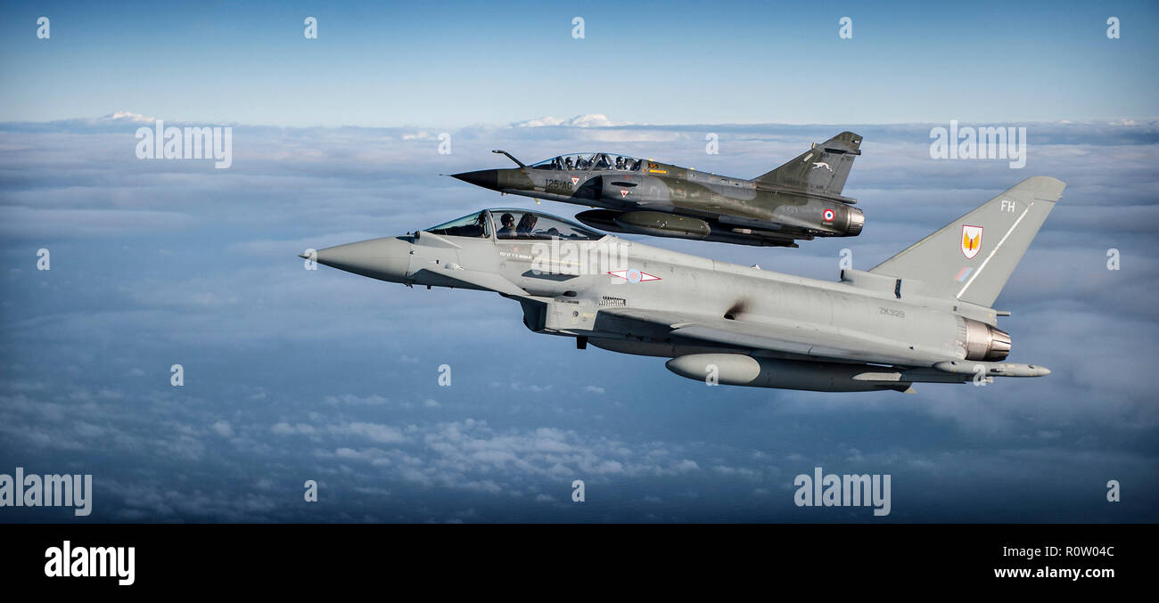RAF EUROFIGHTER TYPHOON FGR4 of 1(F) Squadron (lower) and a