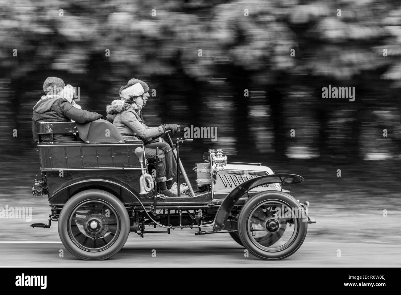 Veteran cars pass through Staplefield whilst taking part in the annual London to Brighton Veteran Car Run - 2018 Stock Photo