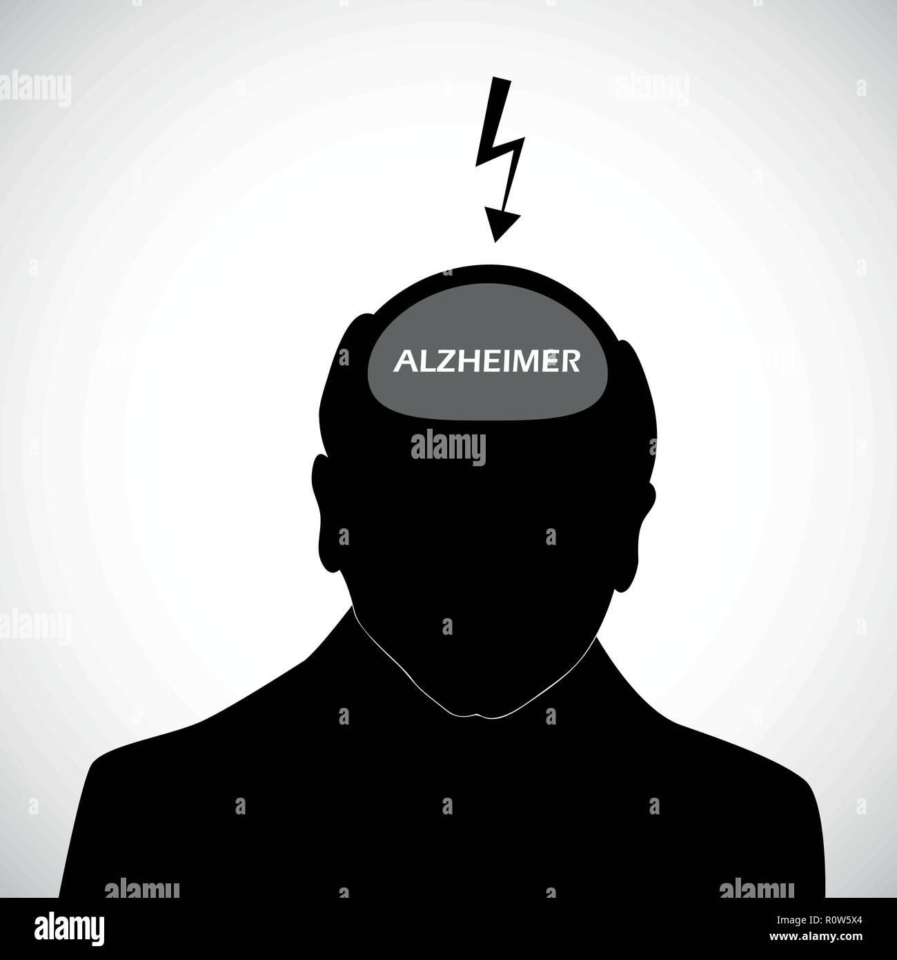 old man silhouette human head alzheimer vector illustration EPS10 - Stock Vector