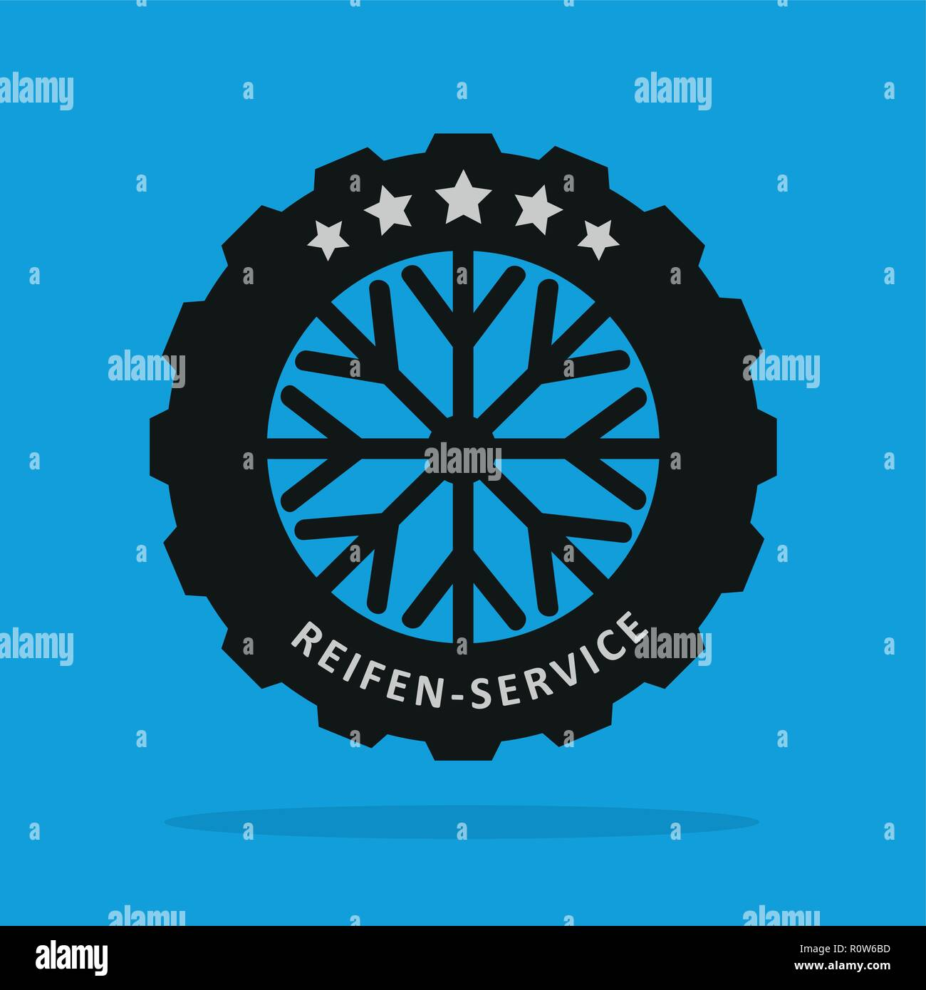 winter car tire sign with snowflake vector illustration - Stock Vector