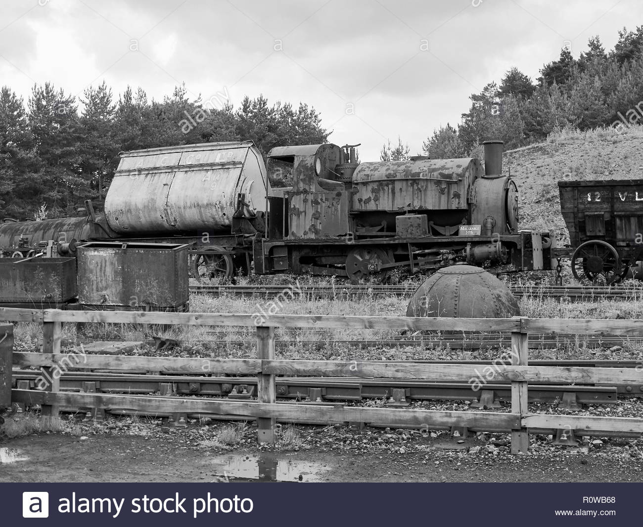 A rusting old steam engine with trucks in beamish open air museum in county durham england uk - Stock Image