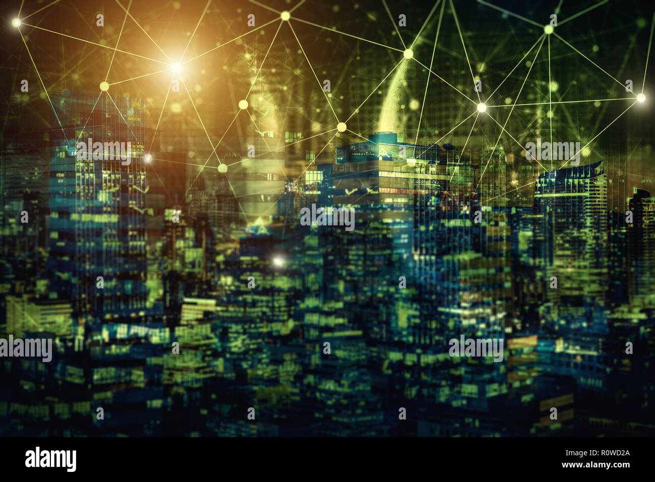 Network connection technology with night city. E-commerce community life in modern city. Some element of this image furnished by nasa. - Stock Image