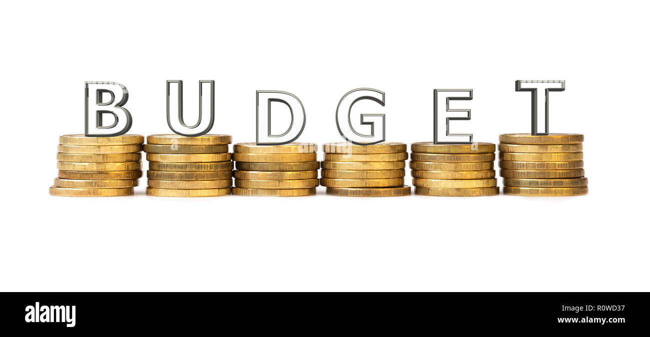 Word Budget of transparent letters arranged on stacks of coins on a white background. The concept of budgeting - Stock Image