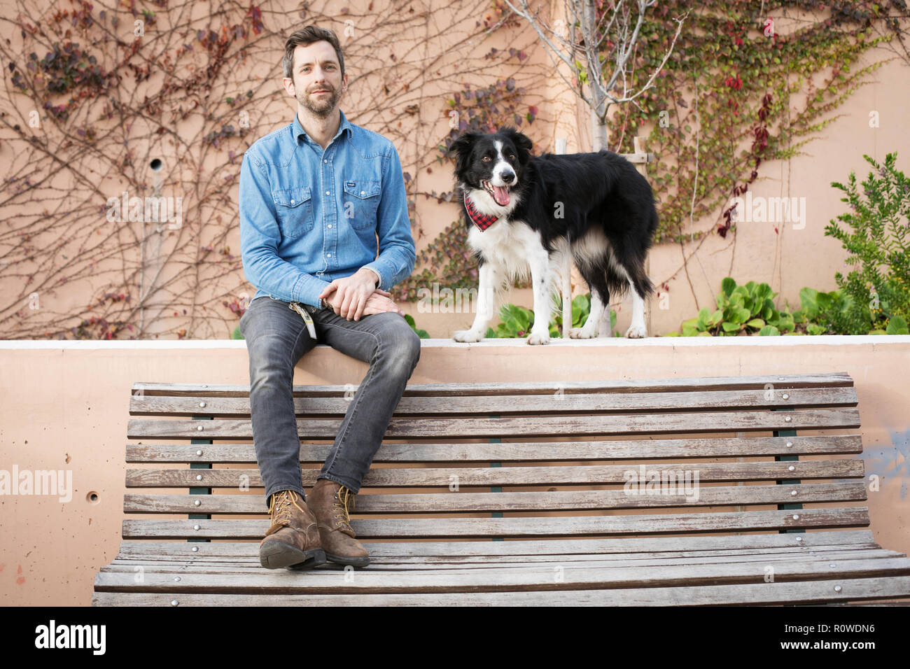 Portrait of graphic designer Andrew Knapp with his dog Momo, a border collie, in a stop in Lisbon, while traveling through Europe. - Stock Image