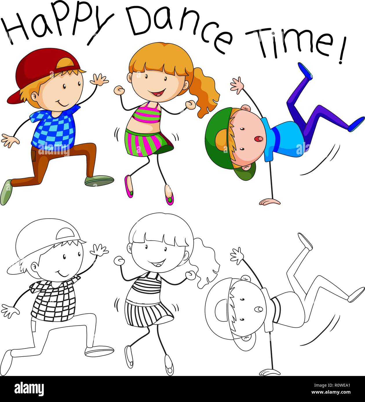 Doodle Happy Dancer Character Illustration Stock Vector Image Art Alamy