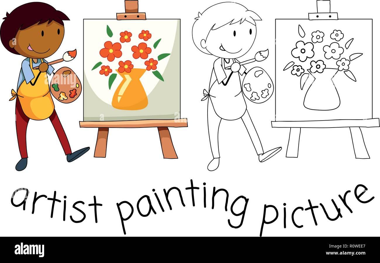 Water Colour Stock Vector Images Alamy Human Body Diagram For Kindergarten Splashtop Whiteboard Background Doodle Artist Character On White Illustration