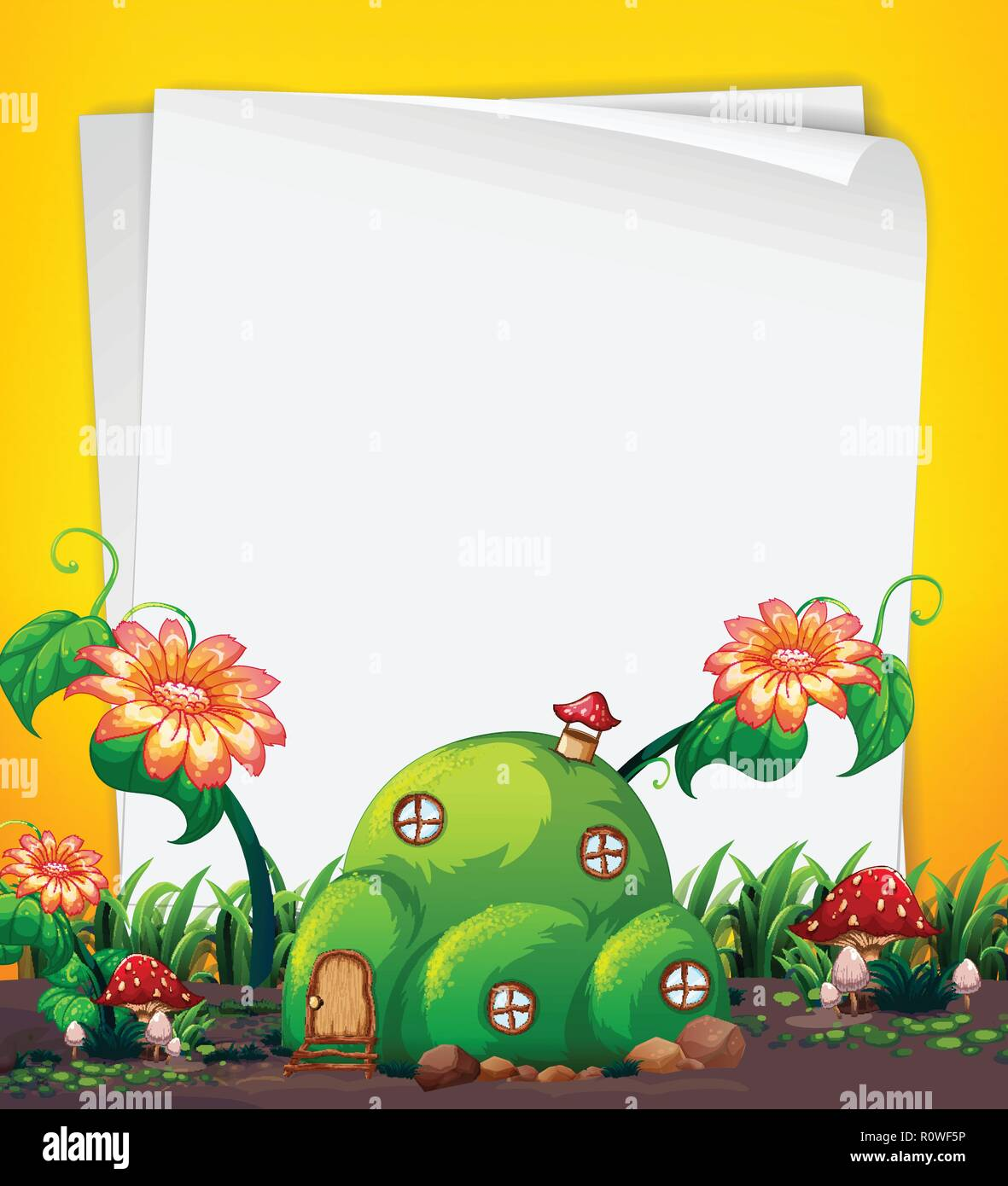 Fairy hill house template illustration - Stock Image