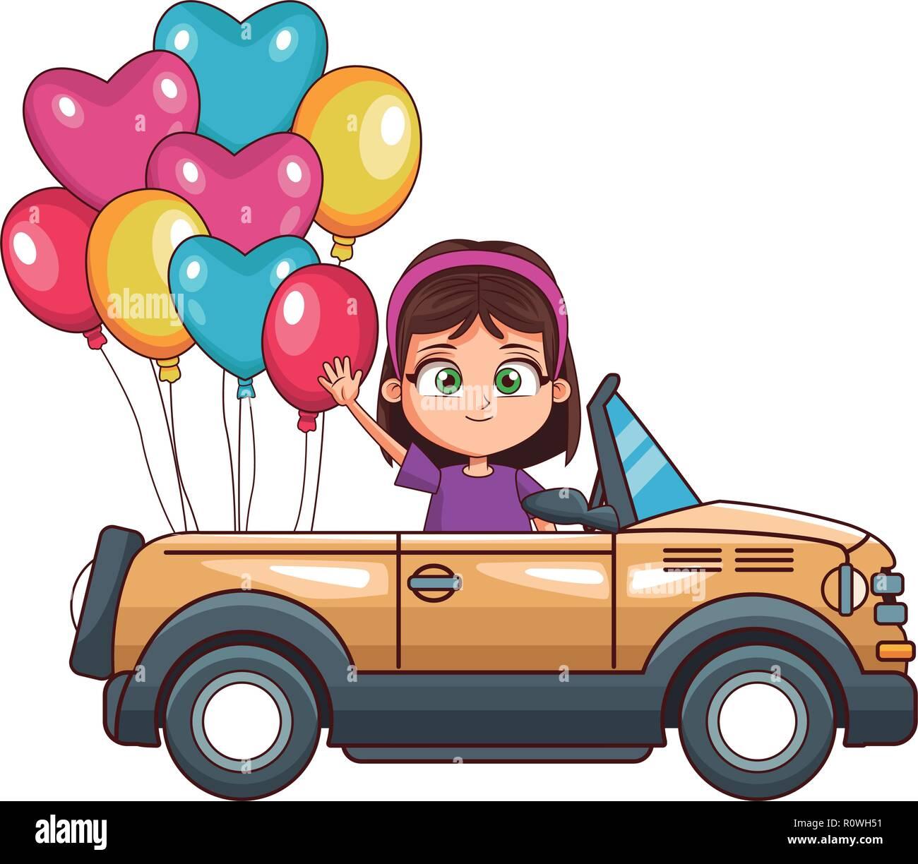 happy girl driving car - Stock Image