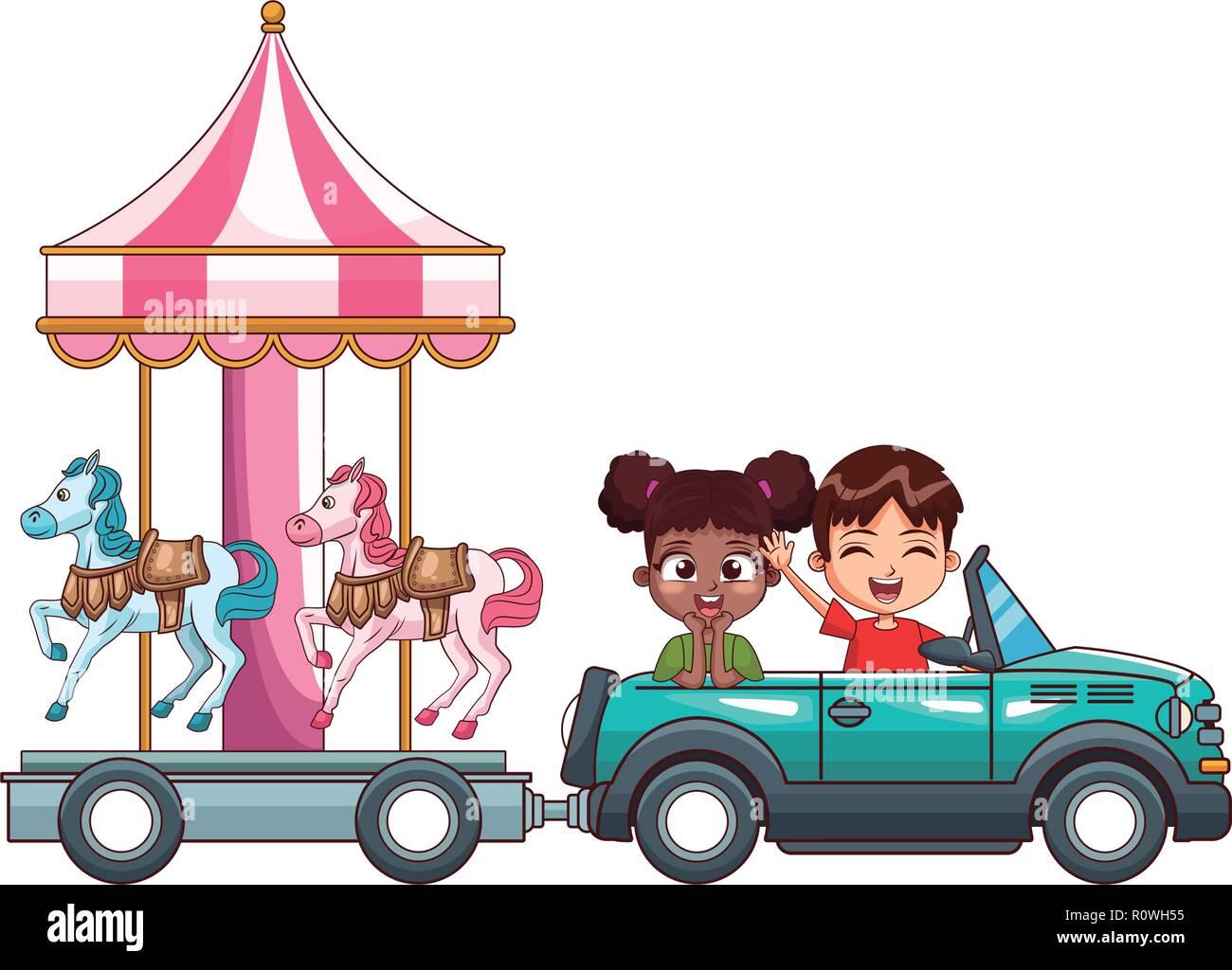 smiling kids driving car - Stock Image