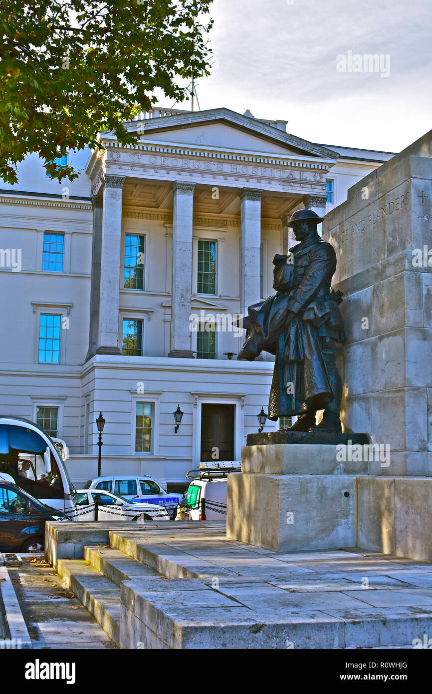 The original St Georges Hospital building at Hyde Park Corner, is now occupied as the exclusive luxury hotel 'The Lanesborough' . London, England, UK. Stock Photo