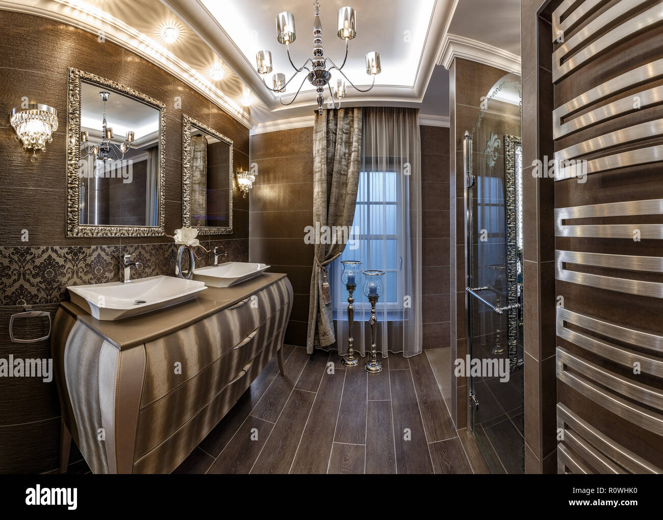 Bathroom in brown tones with two sinks Stock Photo