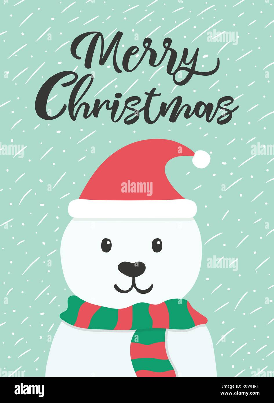 christmas and new year greeting or invitation card white cute bear with hat and scarf on winter background vector illustration