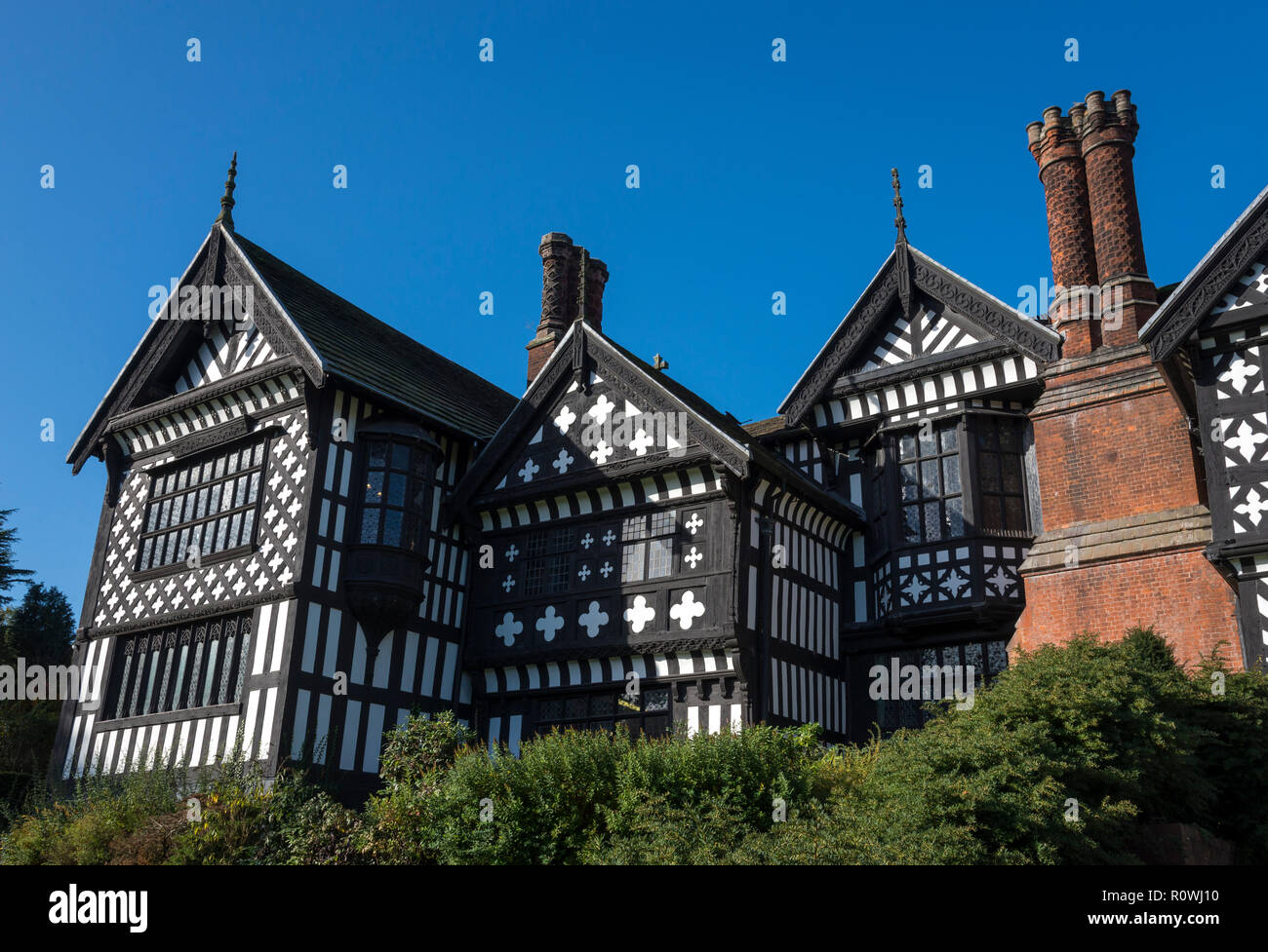 Bramhall Hall, a timber framed tudor house near Stockport, Greater Manchester, England. - Stock Image