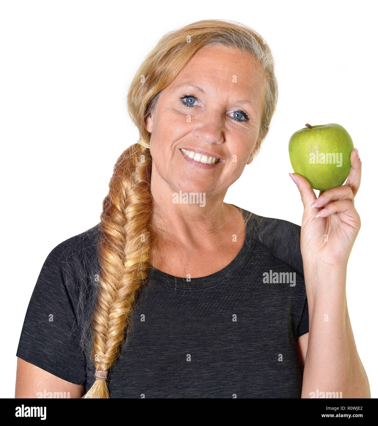 retiree healthy nutrition vitamins apple fit happy - Stock Image