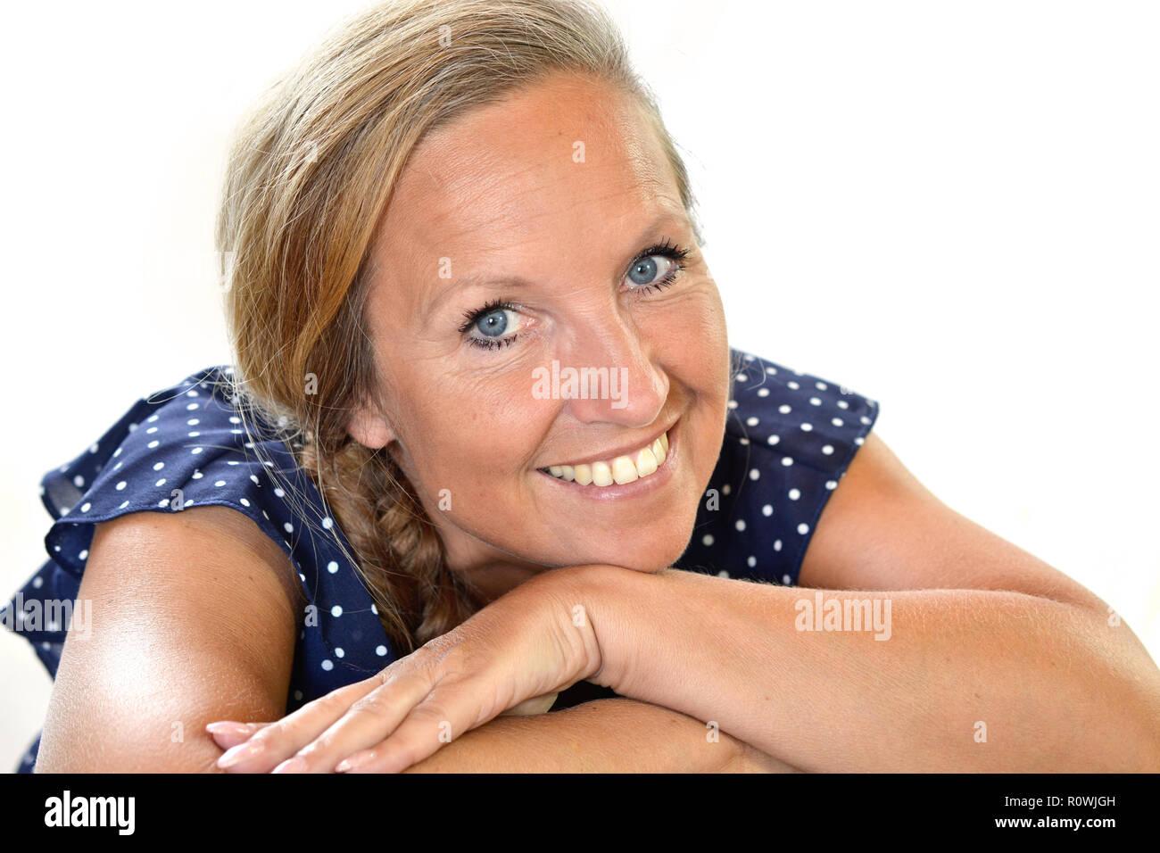 old lady smile lovely close portrait blond - Stock Image
