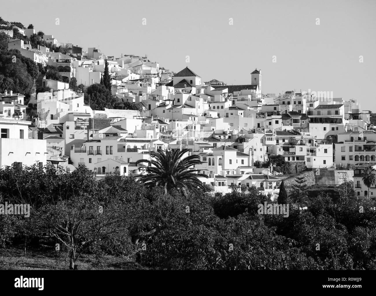 Frigiliana Spain in black and white - Stock Image
