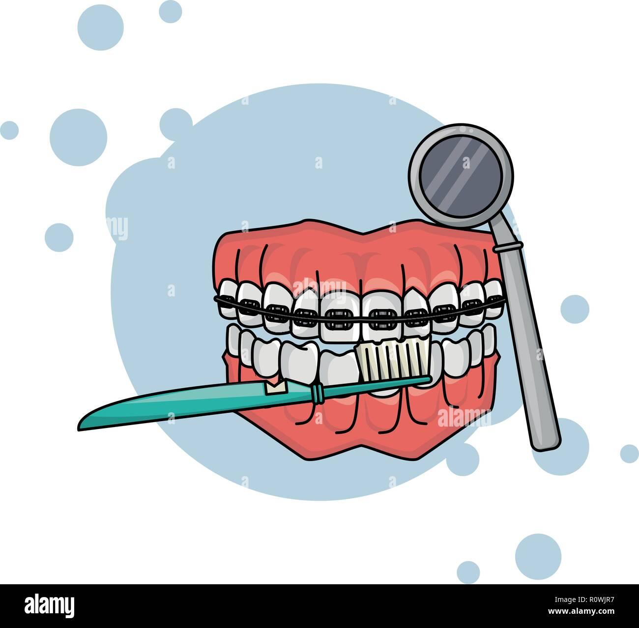 cartoon dental care denture - Stock Image