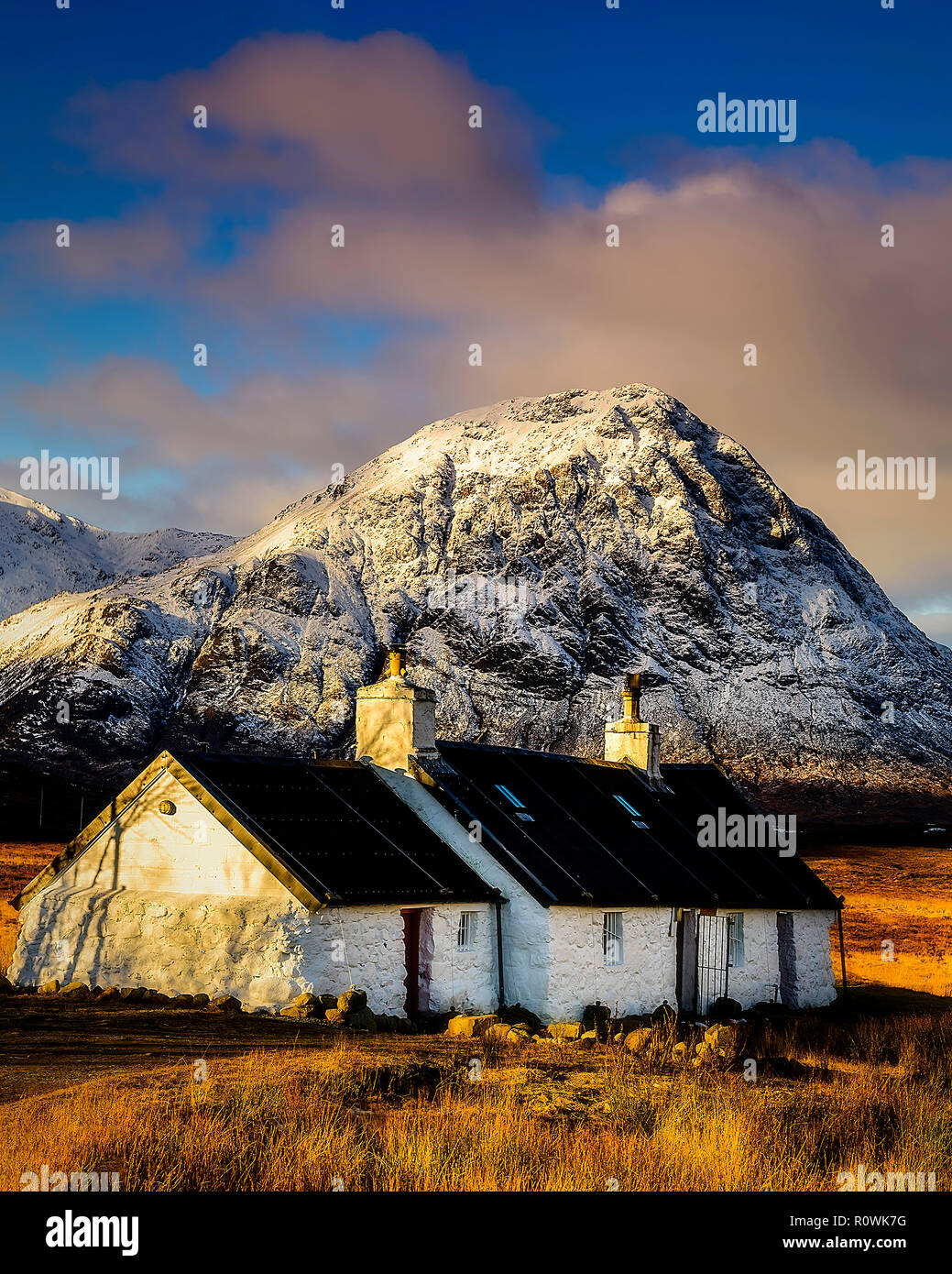 Black Rock Cottage, Glen Coe, Scotland - Stock Image