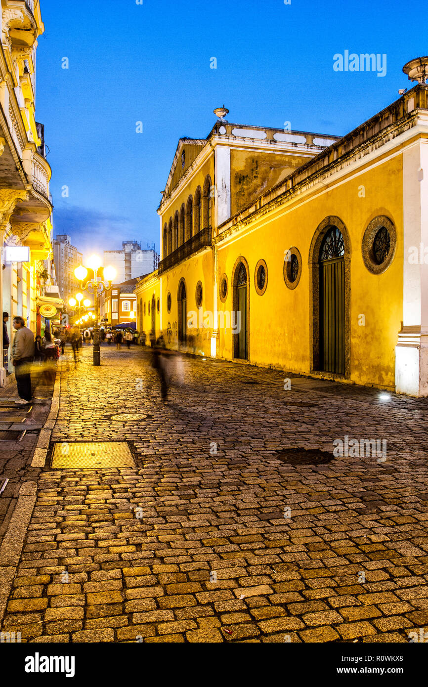 Conselheiro Mafra Street And Old Custom House Building At Dusk Florianopolis Santa Catarina Brazil Stock Photo Alamy