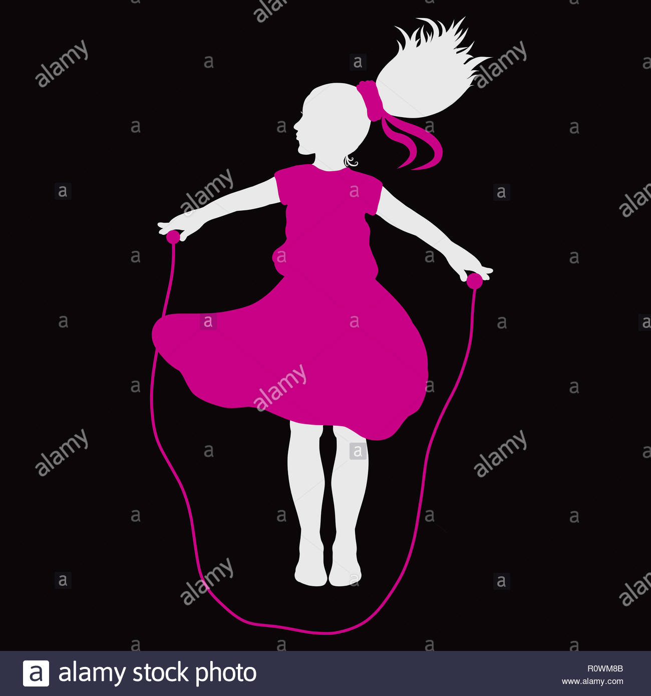 The girl with a magnificent tail, in a pink dress, jumps with a skipping rope - Stock Image