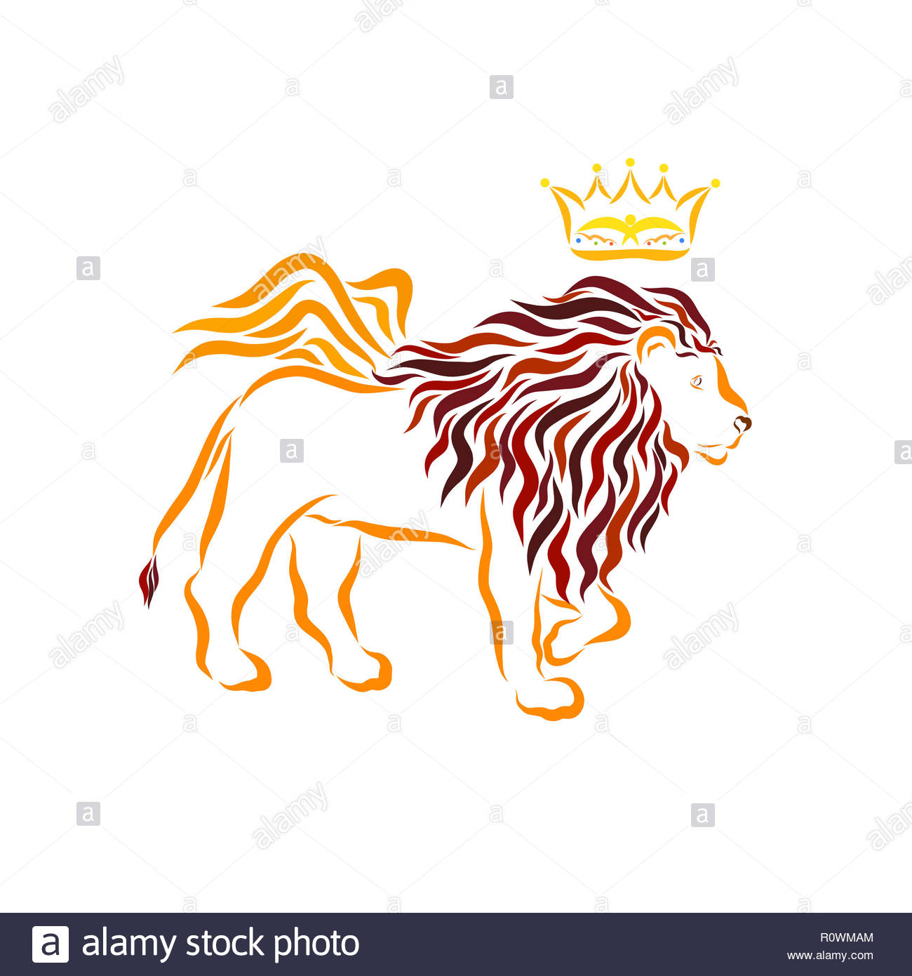 Mighty good winged lion and crown with a bird - Stock Image