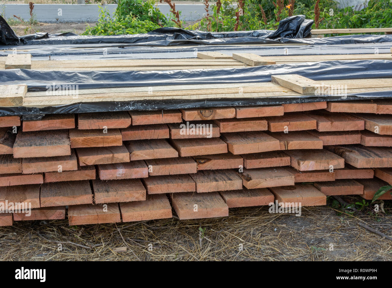 A stack of pine boards soaked in an antiseptic solution is dried at the construction site. Building materials for the construction of a frame house. - Stock Image