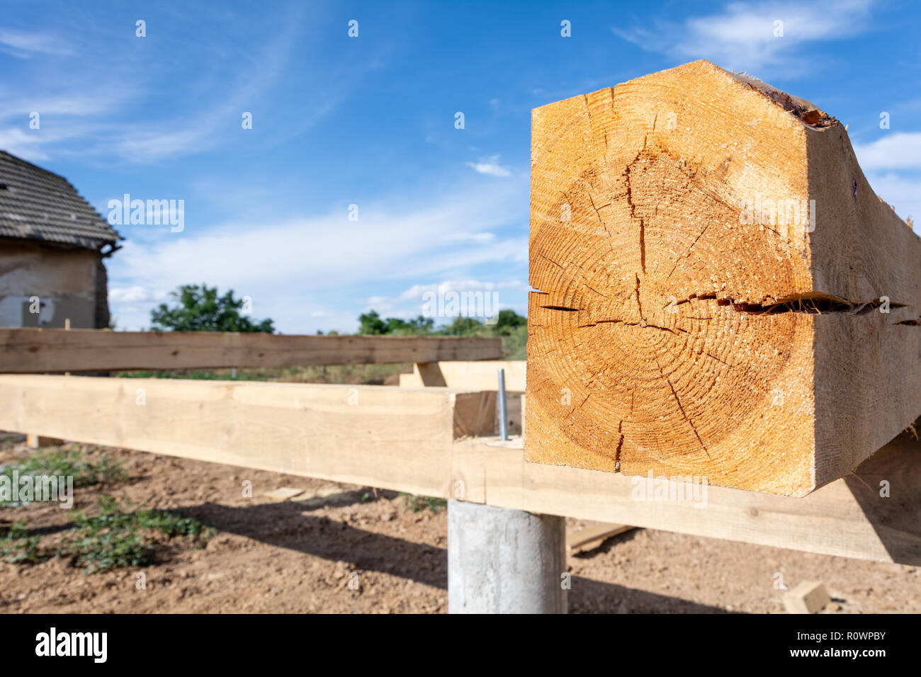The Pine Board Impregnated With An Antiseptic On The Frame Basis Of The House Construction Of The Base Of The A Type Frame House Stock Photo Alamy