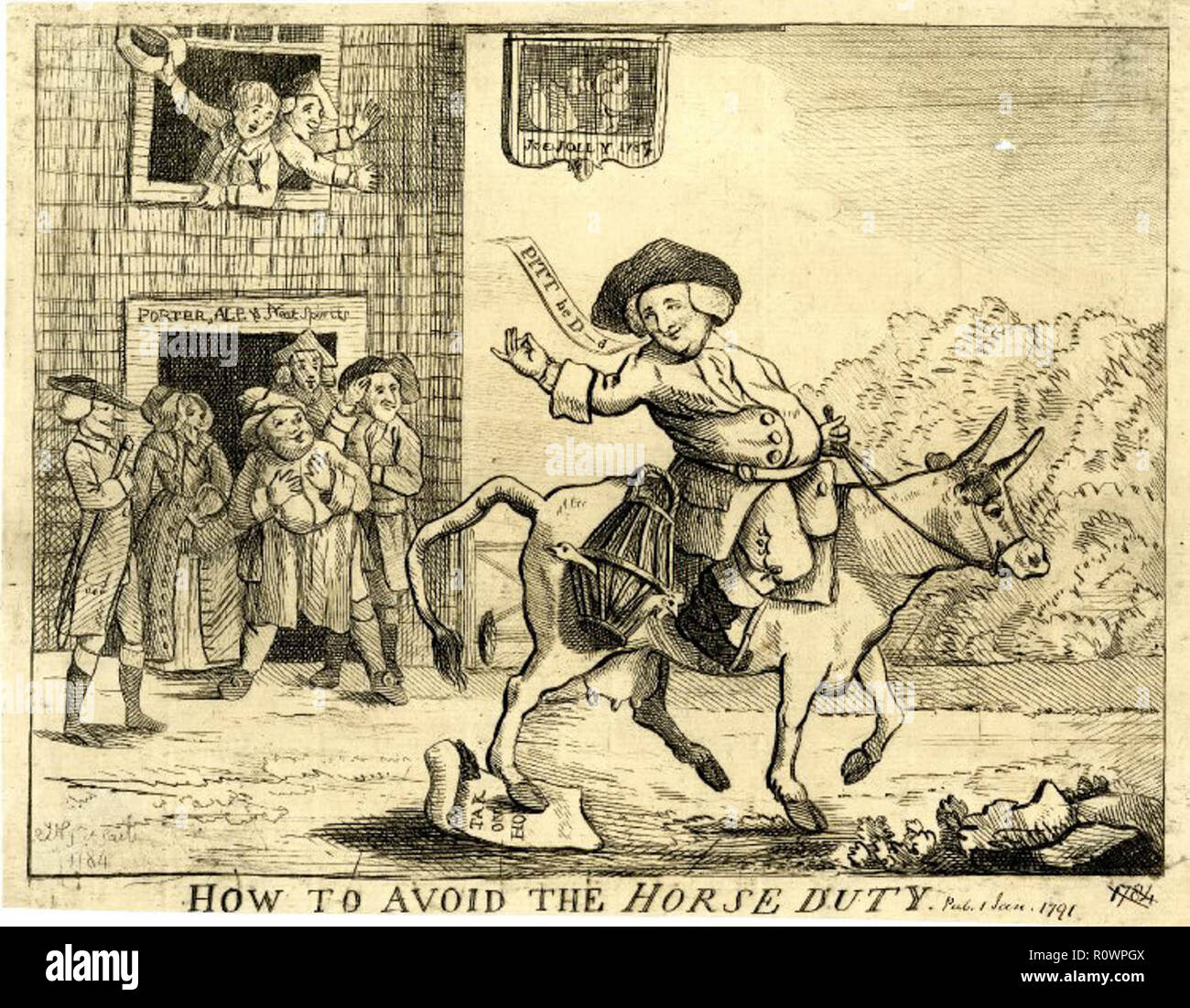 A satirical print from 1784 of Jonathan Thatcher a Cheshire farmer riding  his cow to Stockport market in protest at Pitt the Younger's 1784 budget ...