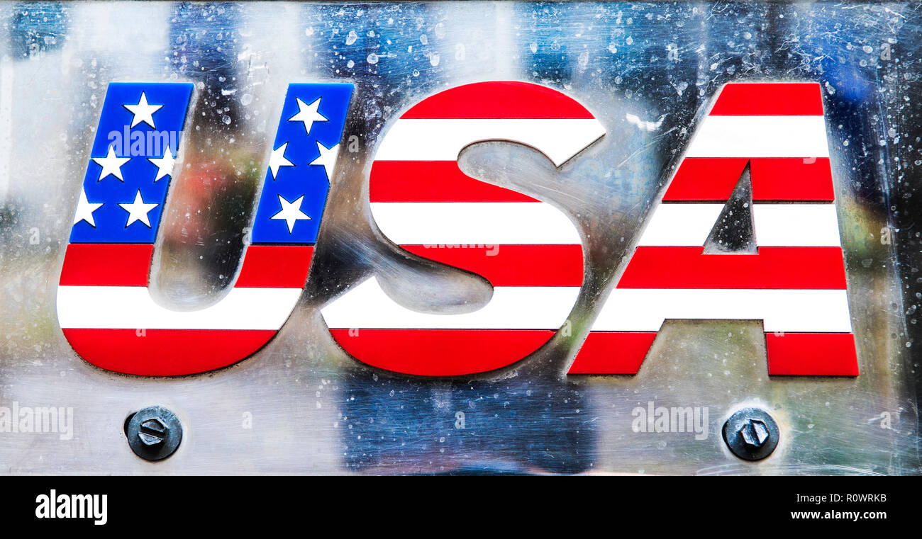 Metal letters USA with a flag pattern inside. - Stock Image