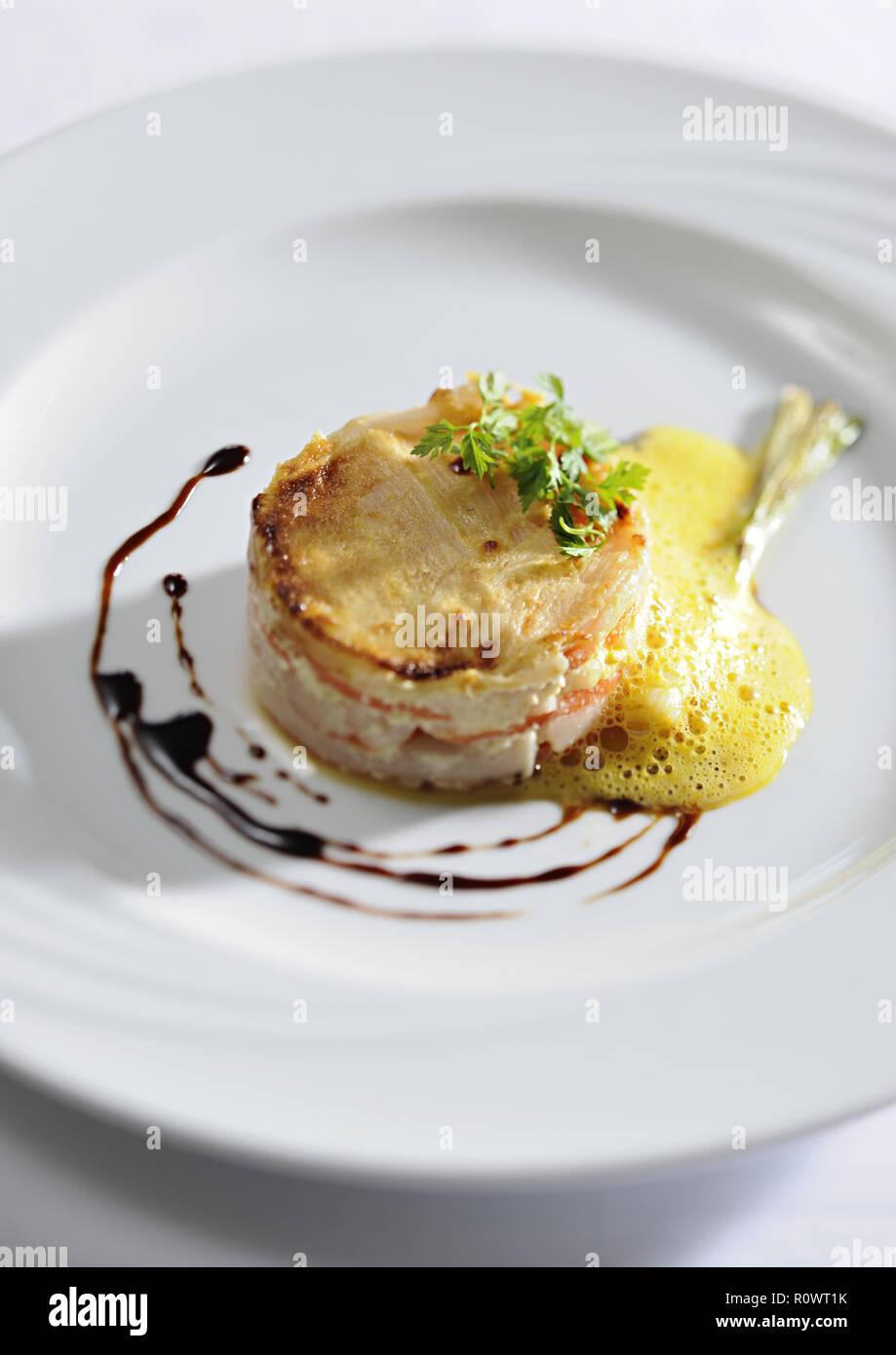 Schwarzwurzel-Karotten-Gratin Stock Photo