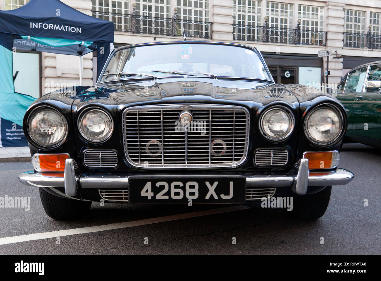 Front view of a 1970,  Black Jaguar XJ on display at the  Regents Street Motor Show 2018 Stock Photo