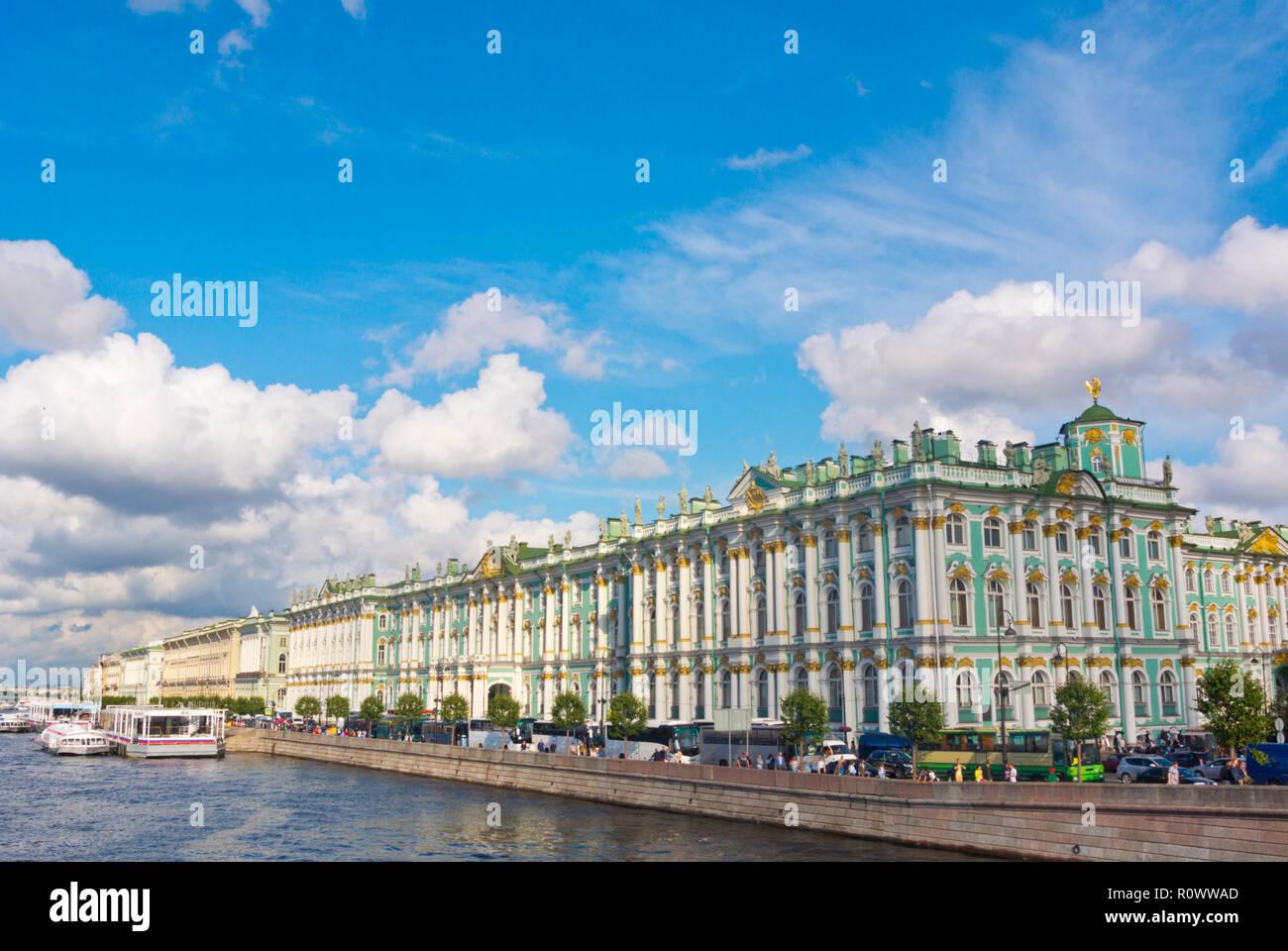 Palace Embankment, with Winter Palace, Saint Petersburg, Russia - Stock Image