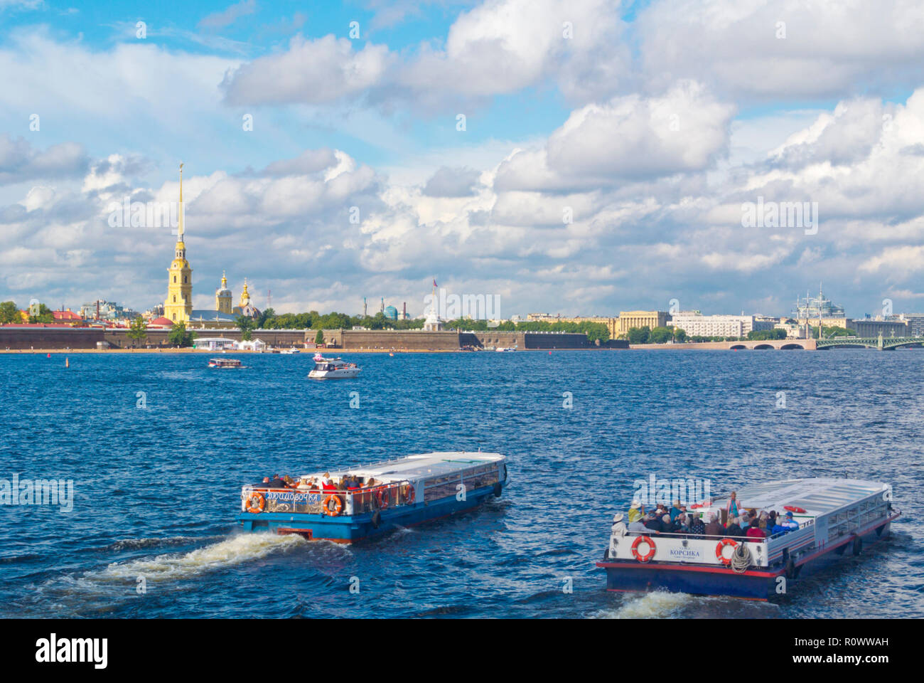 River Neva, in front of Peter and Paul Fortress, Saint Petersburg, Russia - Stock Image