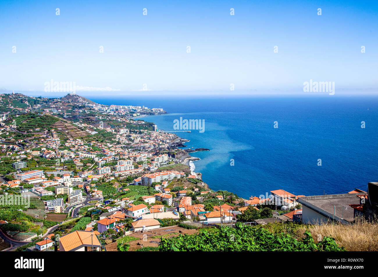 View of the village Câmara de Lobos, Madeira Island - Stock Image