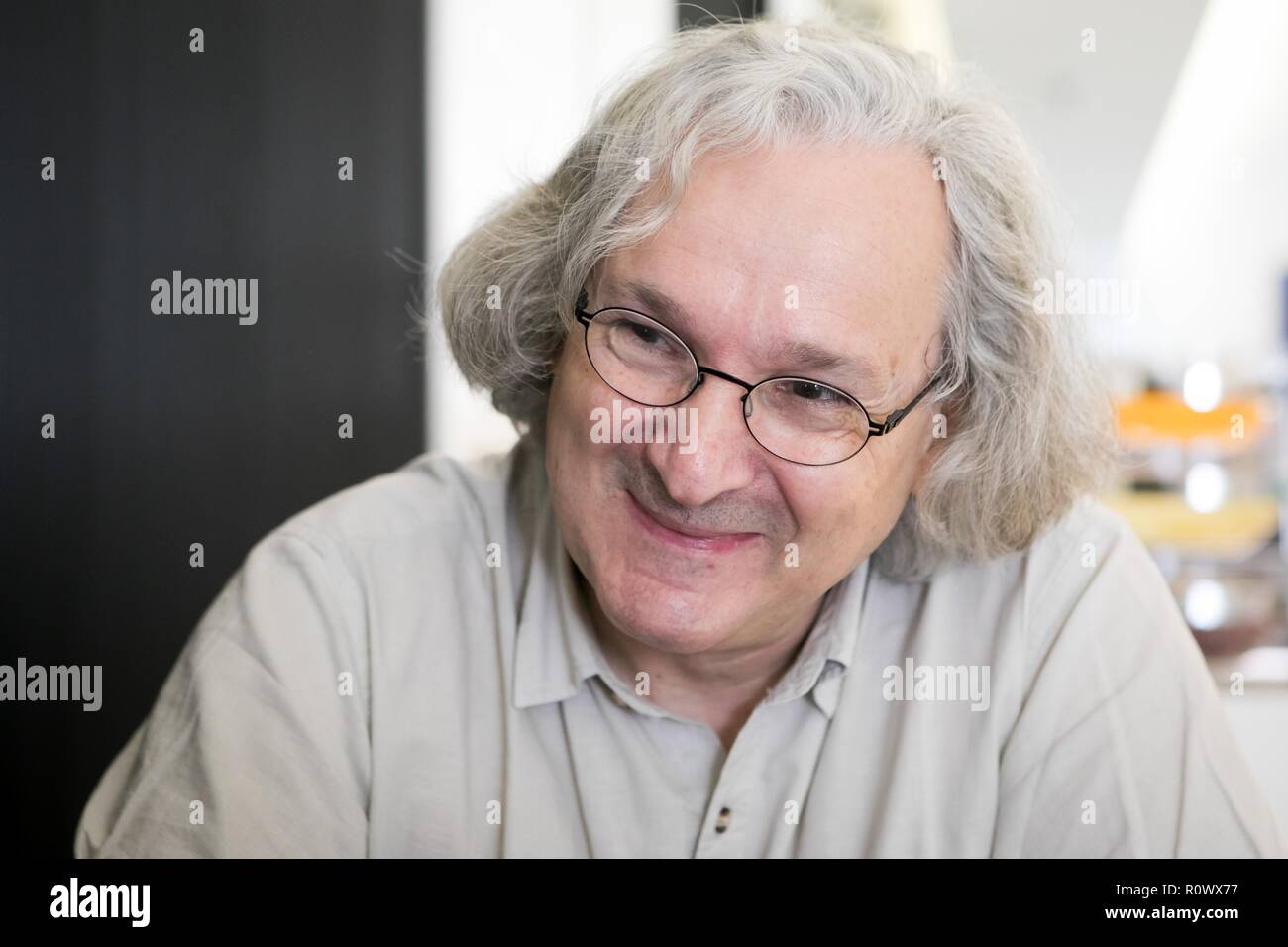 Interview with Etienne Ghys, a French mathematician. - Stock Image