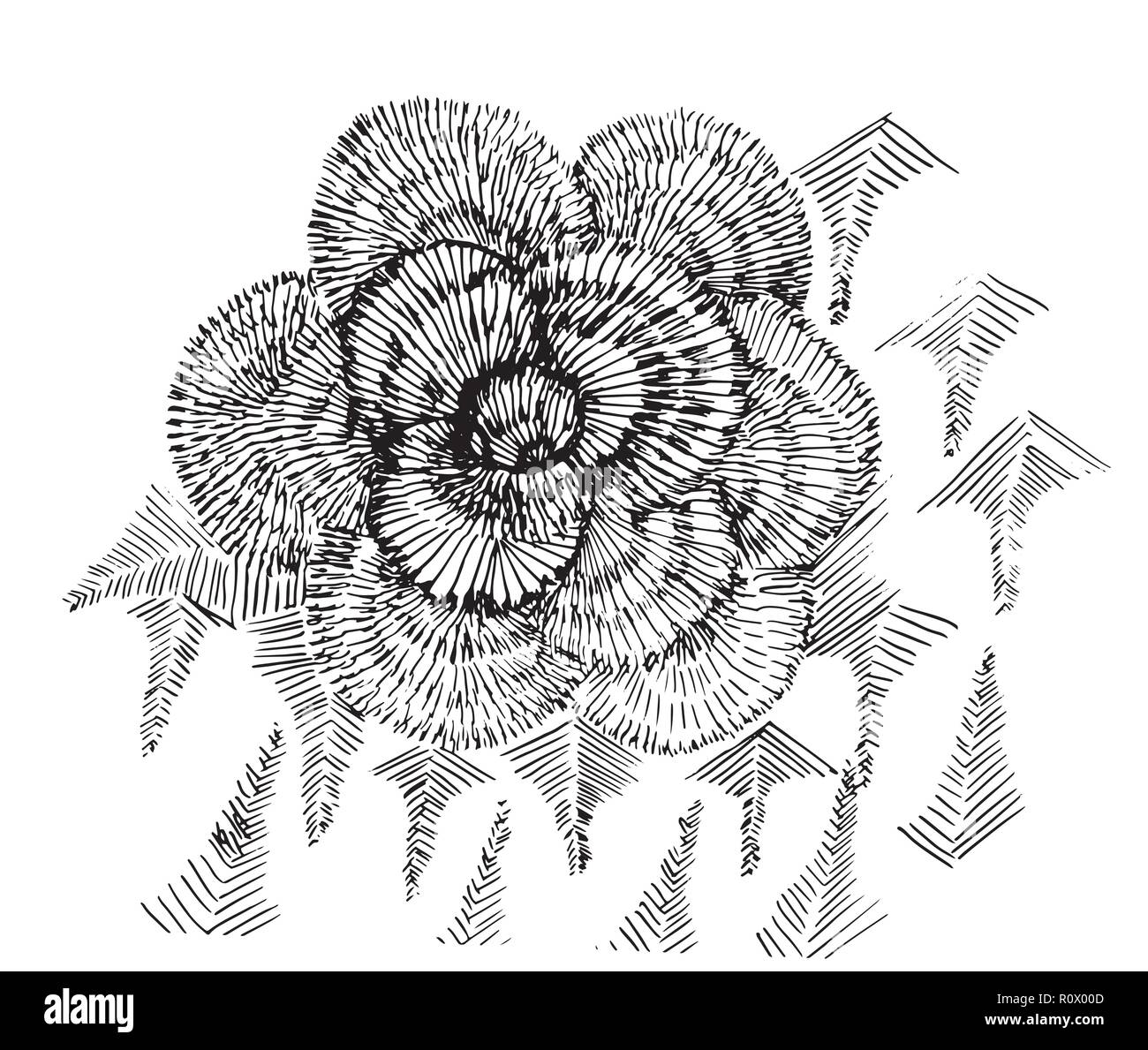 Black and white illustration of psychedelic flower. - Stock Image