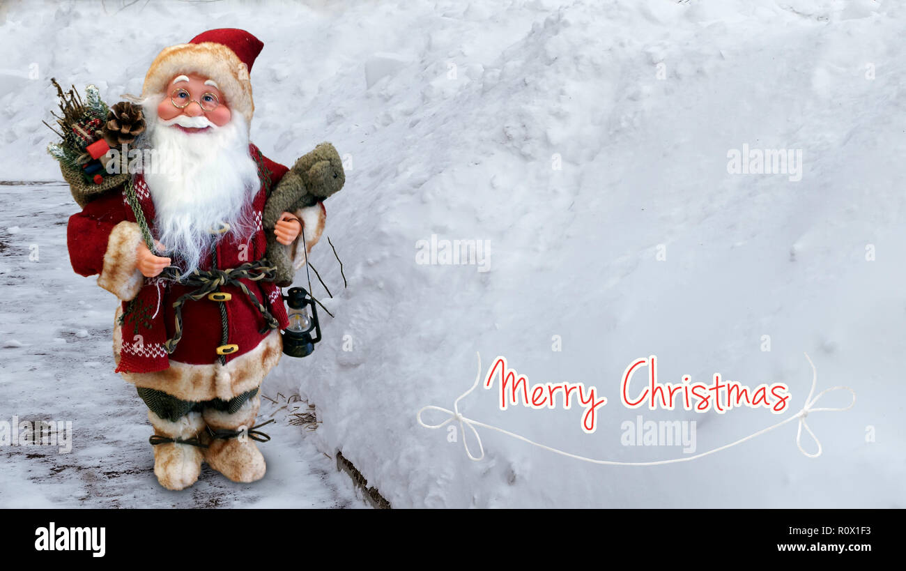 beautiful christmas card in vintage style with the image of santa claus for christmas and new year greetings 3d rendering