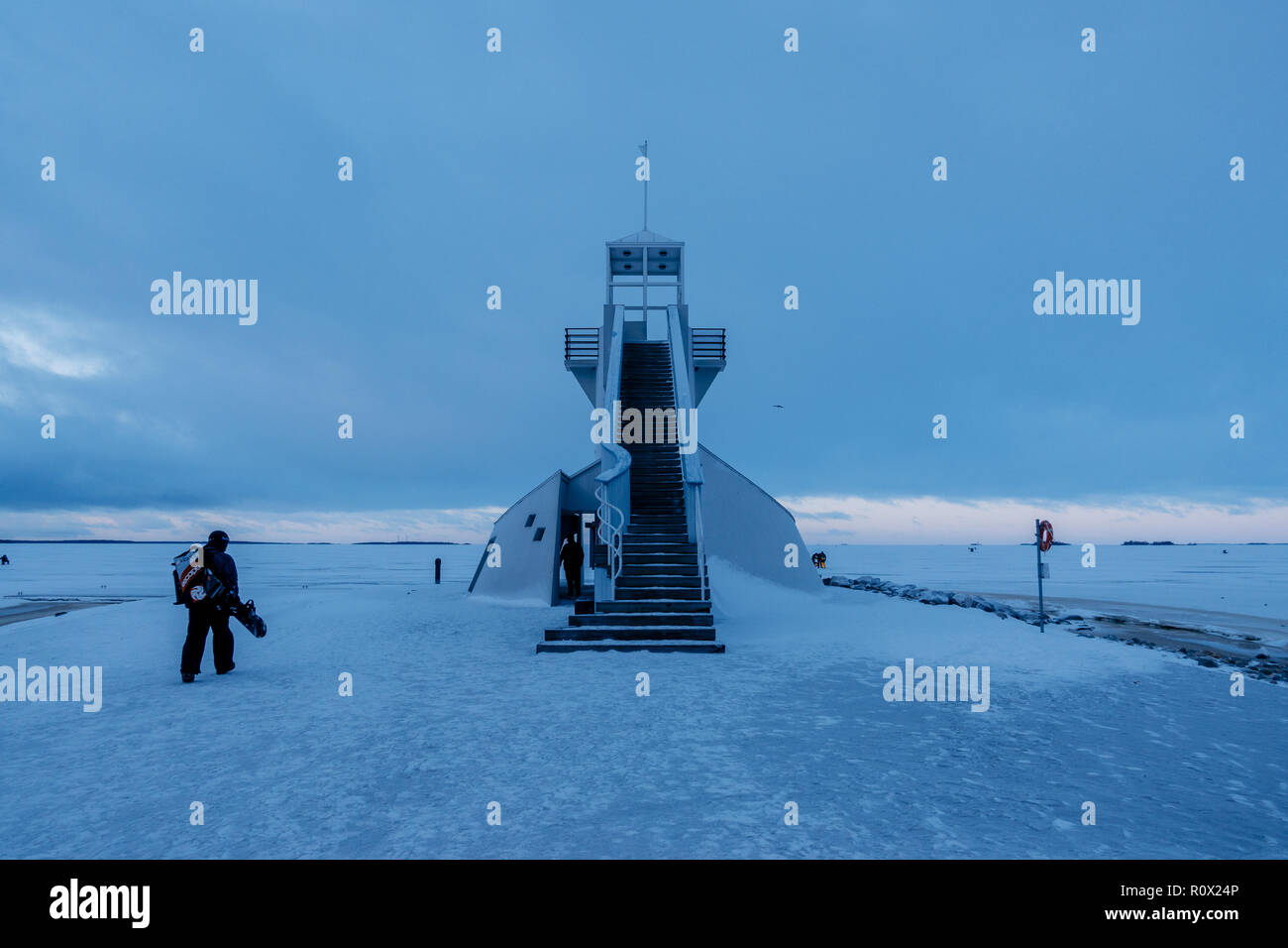 Oulu lighthouse at winter. Finland - Stock Image