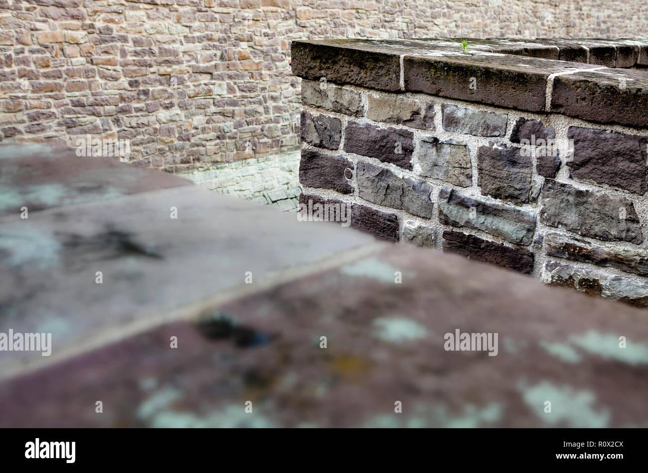 Brick walls, Bad Karlshafen, Upper Weser Valley,  Weser Uplands, Weserbergland, Hesse, Germany, Europe - Stock Image