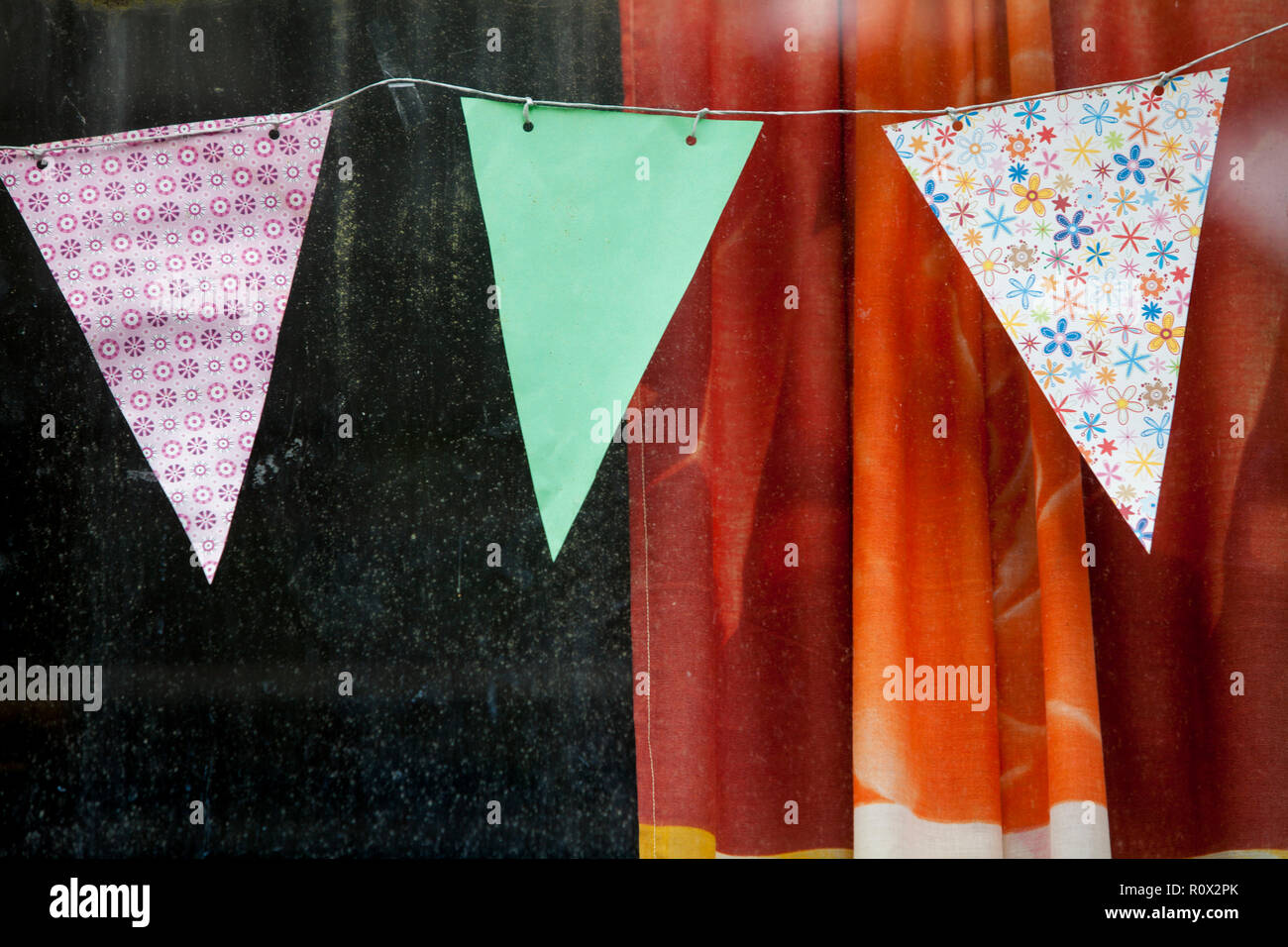 Curtain and pennants of an old railcar, Germany, Europe - Stock Image